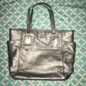 Coach Large Silver Leather Bag